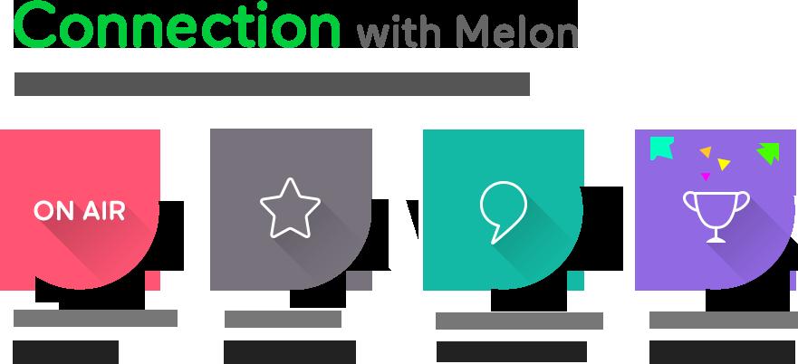 Connection with Melon 멜론과 함께, 풍요로운 문화생활을 지금 바로 시작하세요! - 쇼케이스 라이브 콘서트 독점생중계, 스타도 함께 쓰는 아티스트 채널, 스타를 직접 보고 만나는 Meet & Greet, 내가 뽑는 진짜 시상식 멜론뮤직어워드